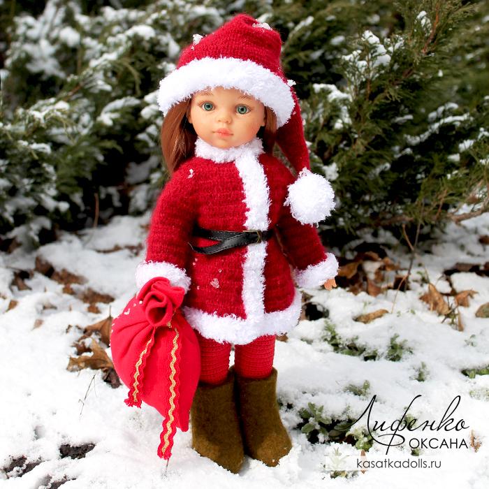 Вяжем одежду для кукол: шубка и новогодний колпак для Паола Рейна