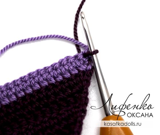 двухцветное вязание крючком