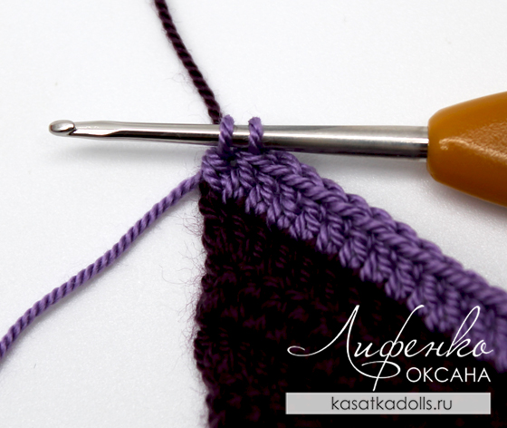 смена цвета при вязании крючком