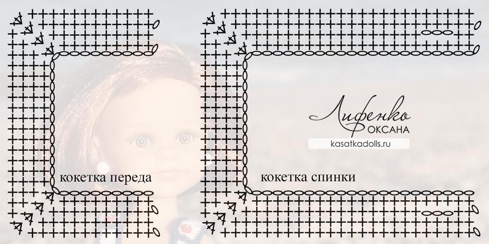 схема кокетки сарафана для куклы