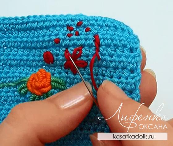 вышивка по вязаному полотну для кукольной одежды At оксана лифенко