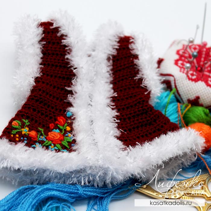 Вышивка по вязаному полотну для кукольной одежды