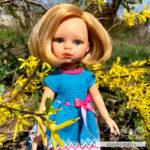 Платье для куклы Паола Рейна спицами — описание и видео урок