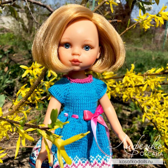 платье для куклы спицами