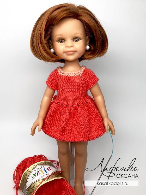 описание платье для куклы спицами