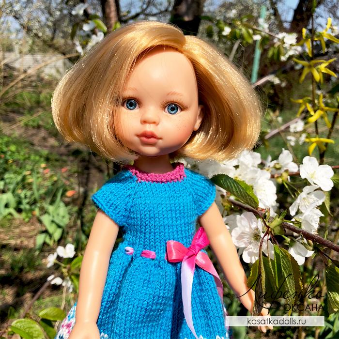 платье для куклы спицами для начинающих