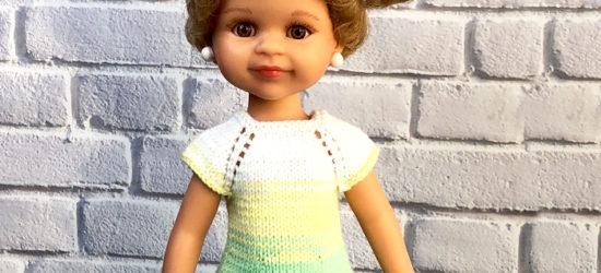 вяжем спицами простое платье для куклы описание и видео урок
