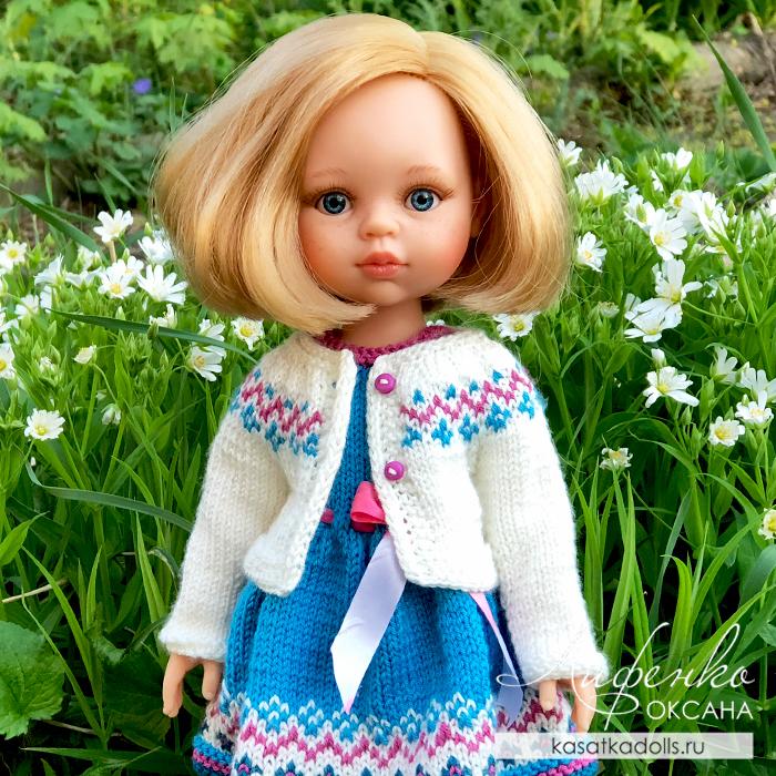 Кофта спицами для кукол Paola Reina