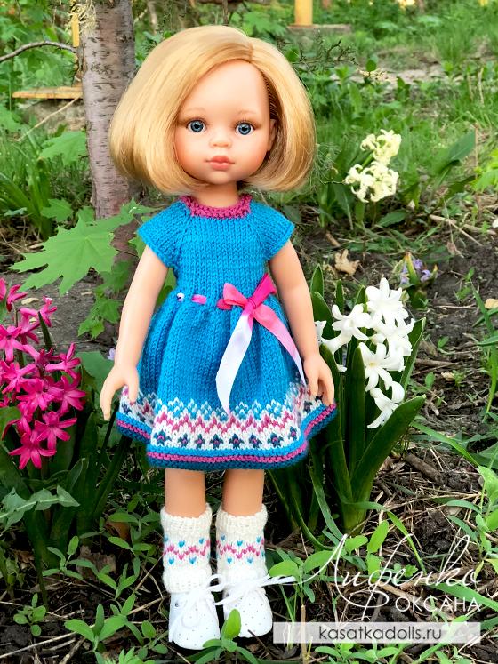платье с жаккардом спицами для куклы Паола Рейна