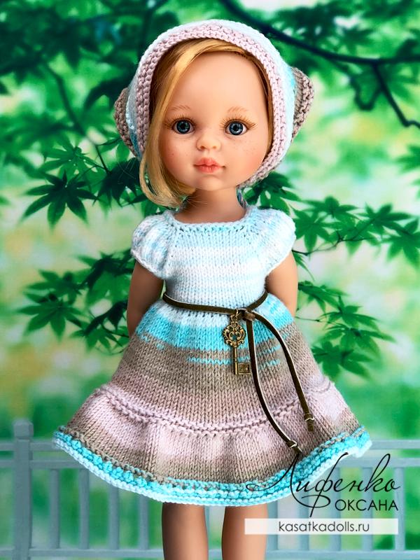 платье спицами с рукавом фонарик для кукол