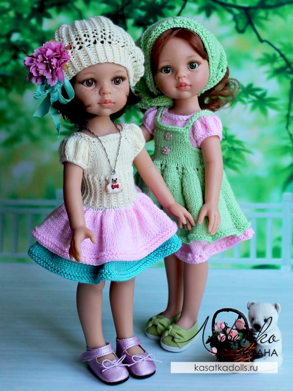 платья спицами для кукол Паола Рейна