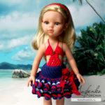 Морская юбка для куклы крючком
