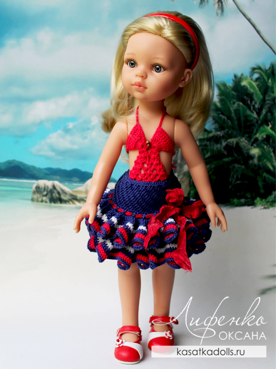 юбка для кукол крючком