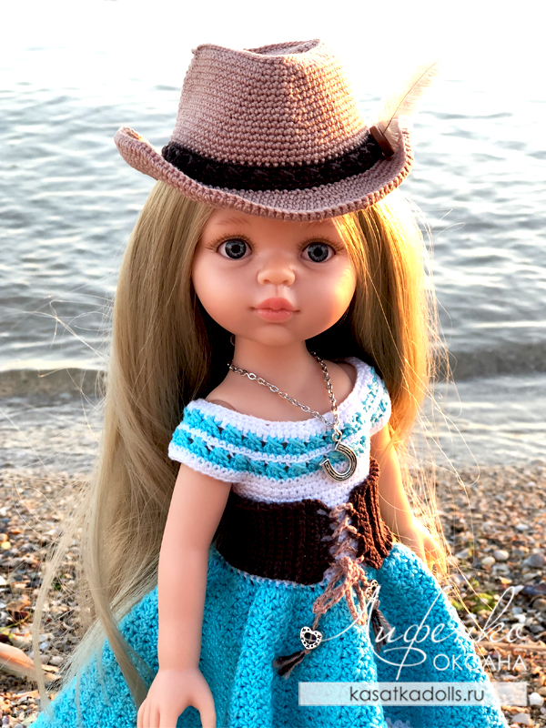 ковбойская шляпа крючком для кукол