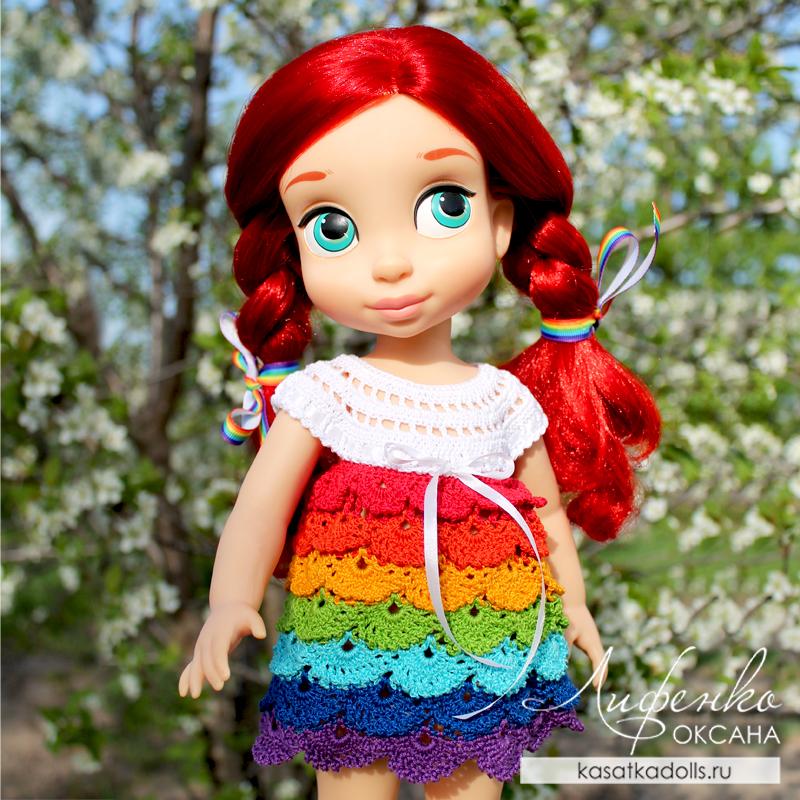 Описание платья Радуга для кукол Дисней