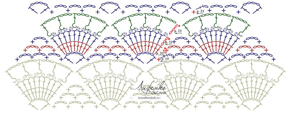 схема узора ракушки