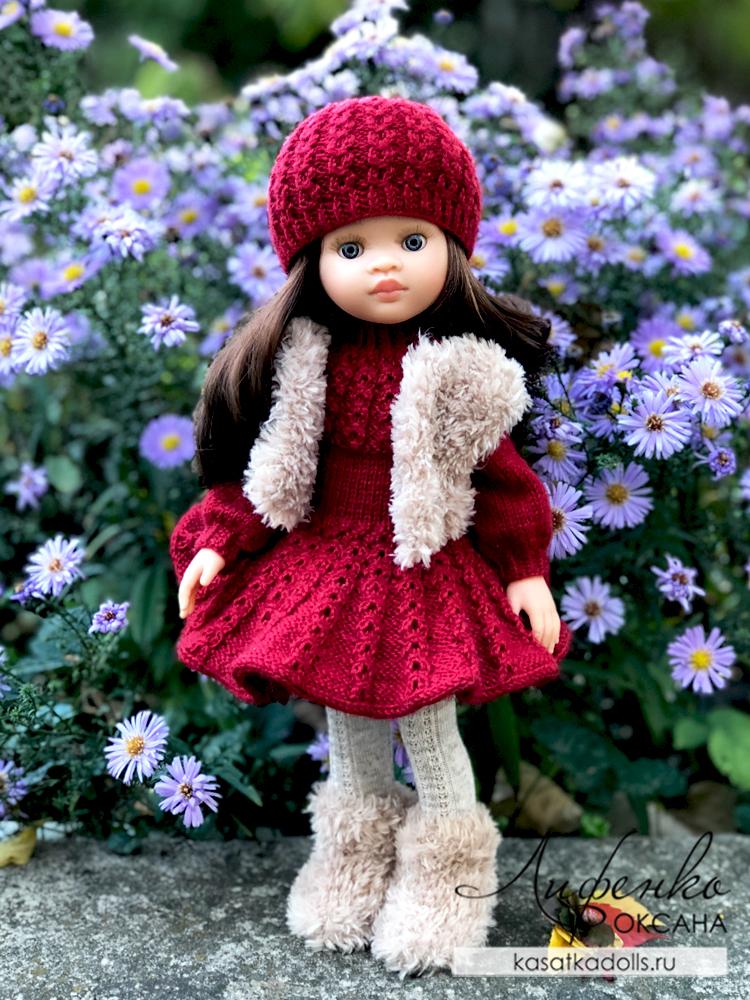 жилет и угги для куклы из пряжи yarnart mink