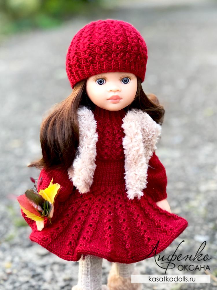 шапочка для куклы спицами