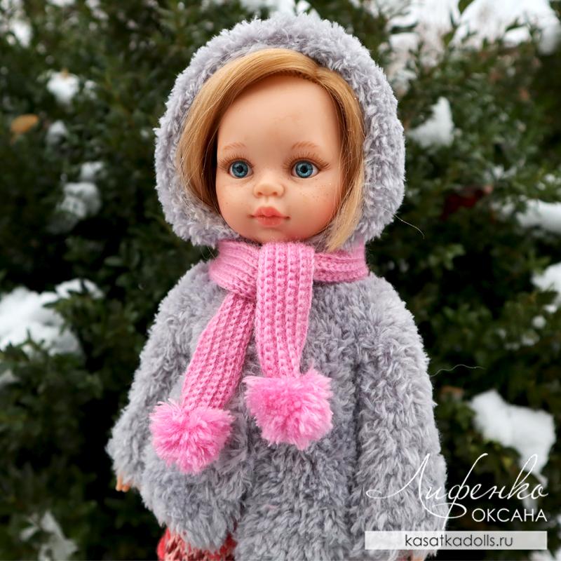 шарфик для куклы резинкой крючком