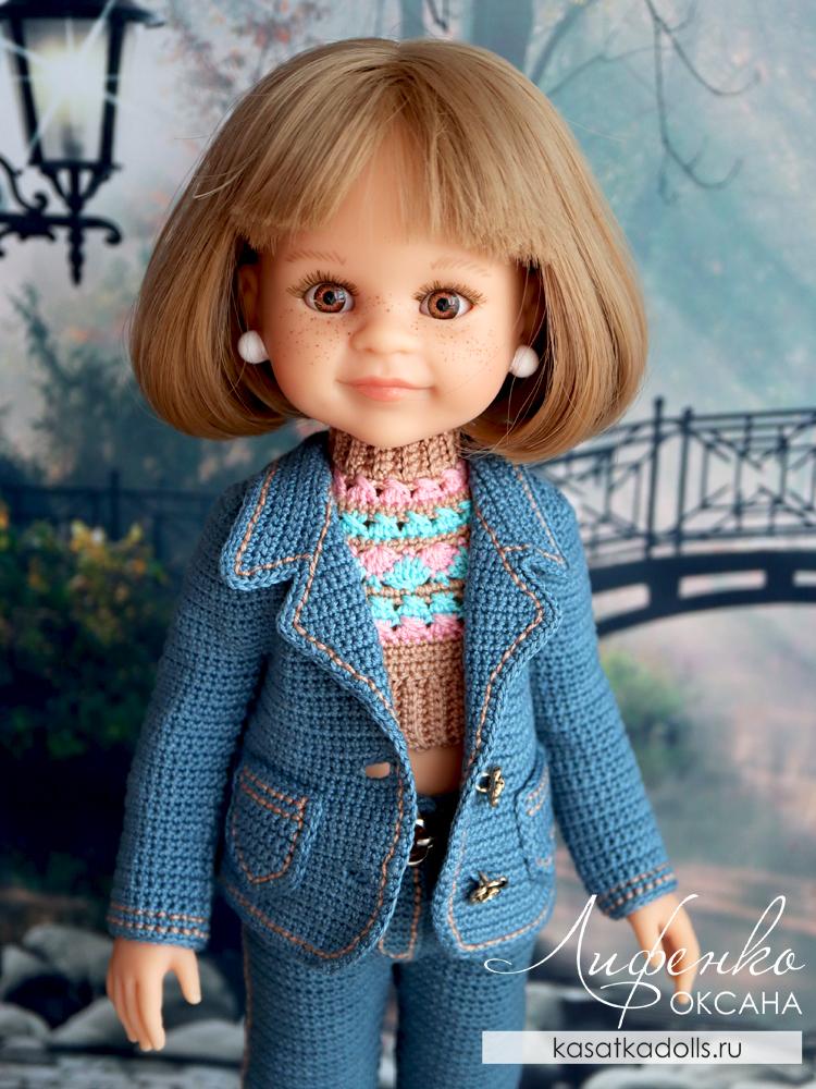 джинсовый костюм крючком для кукол