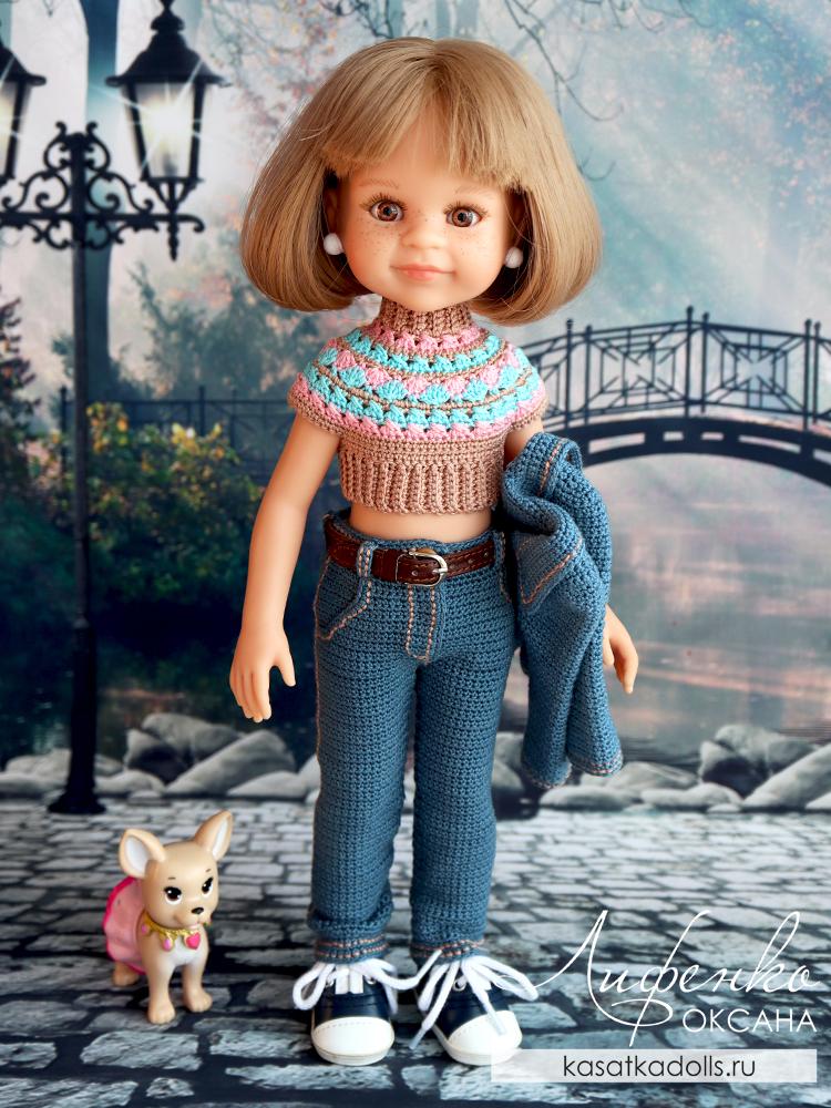 джинсы крючком для куклы