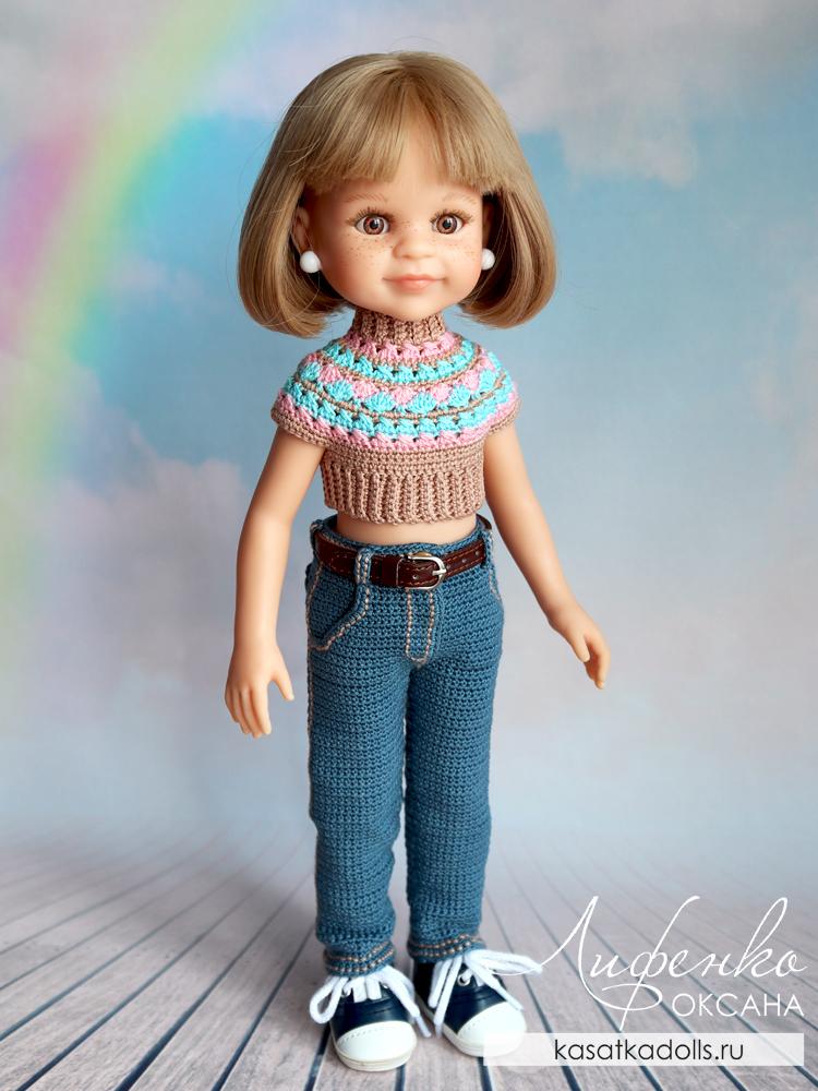 джинсы для куклы крючком