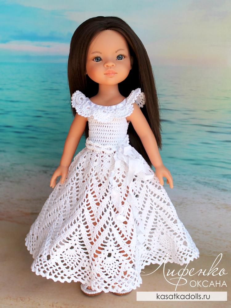 Платье крючком для кукол Паола Рейна