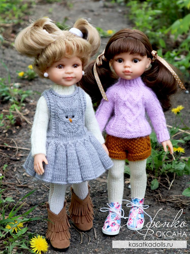 одежда спицами для кукол Паола Рейна