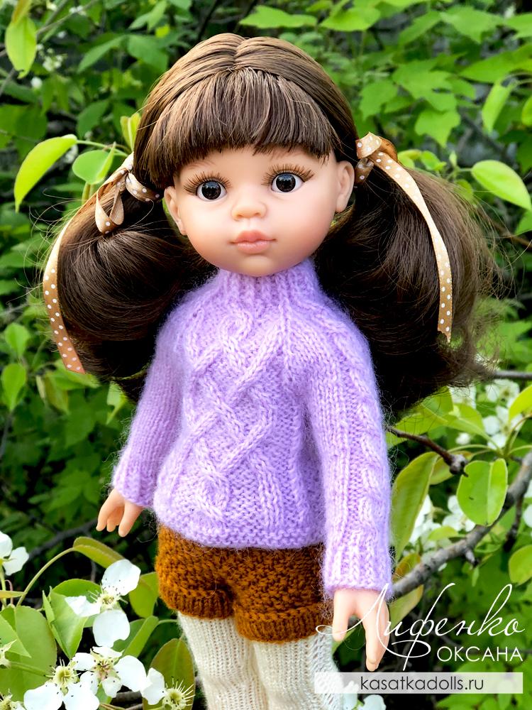 свитер для кукол с косами