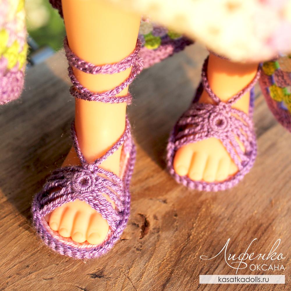 сандалии крючком для кукол