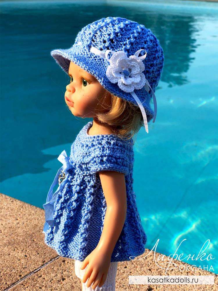 шляпка спицами для кукол