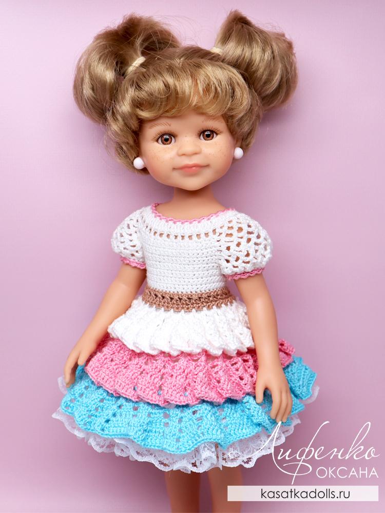 Нарядное платье для куклы крючком