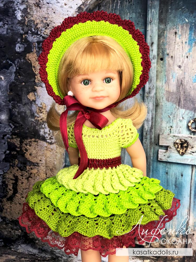 Капор для куклы крючком