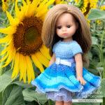 Платье спицами для кукол Мини Подружки Паола Рейна 21 см