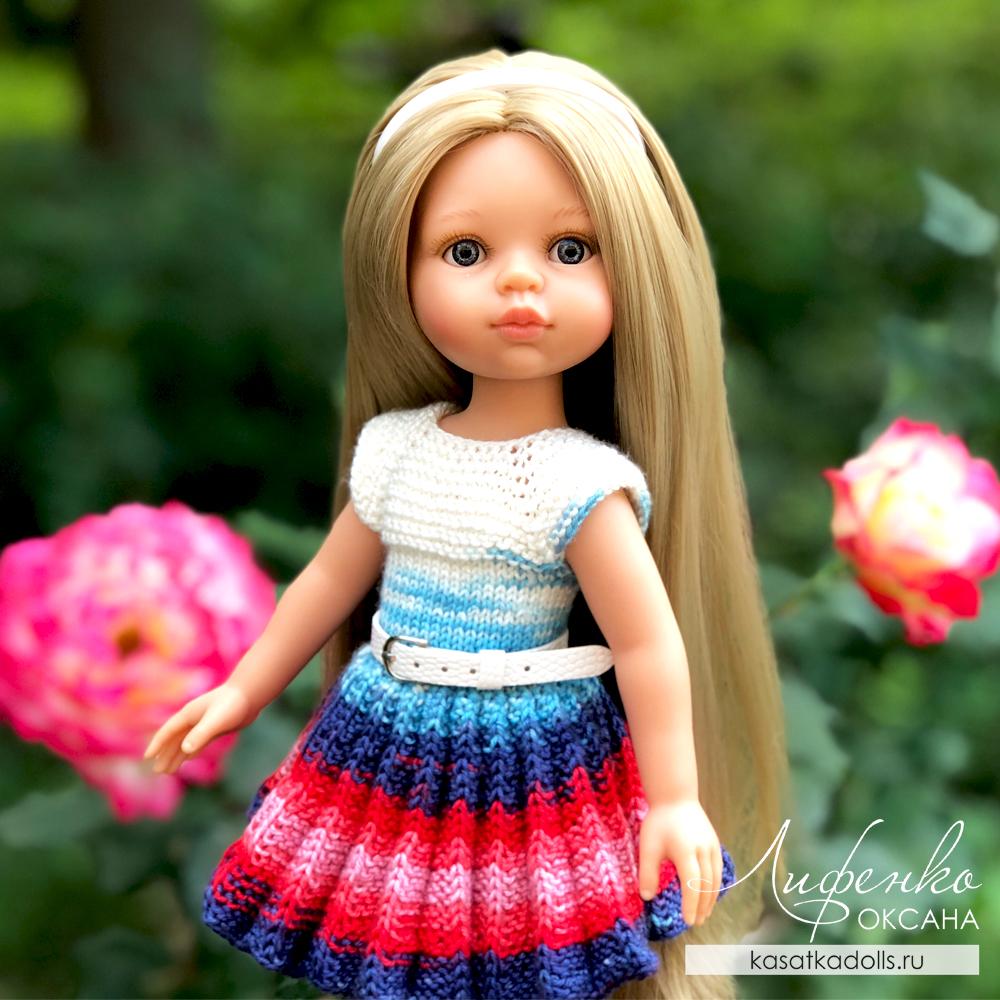 платье спицами для кукол Паола Рейна