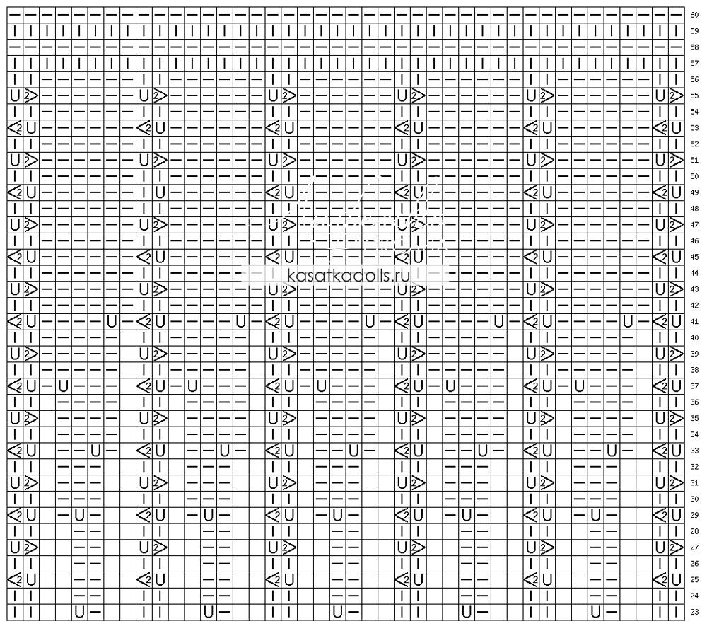 схема ажурного узора для туники, платья или детской кофточки