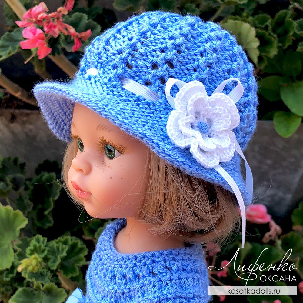 шляпка спицами для кукол Паола Рейна и игрушек амигуруми