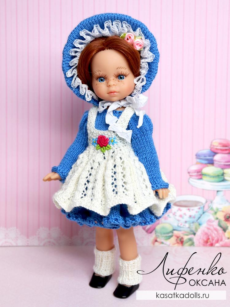 капор спицами для кукол