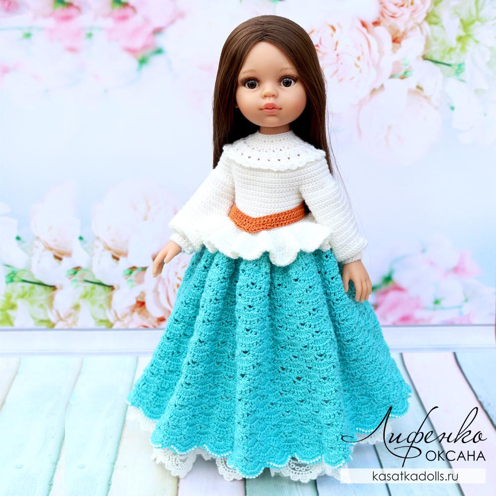 Нарядное платье для кукол Паола Рейна вязание крючком