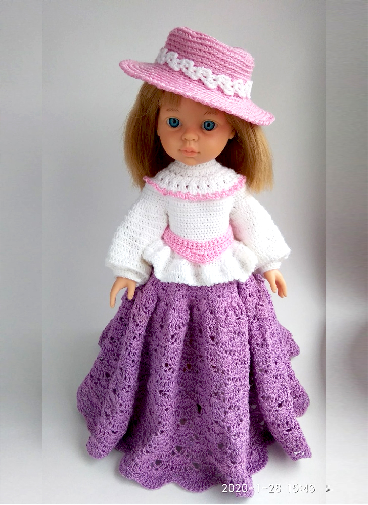 вязание крючком для кукол Паола Рейна - наряд Мэри
