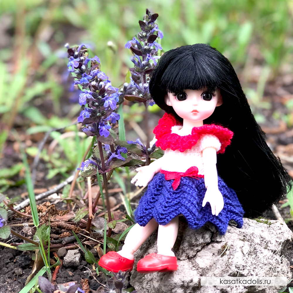 Платье крючком для маленькой куклы Баболи 16 см