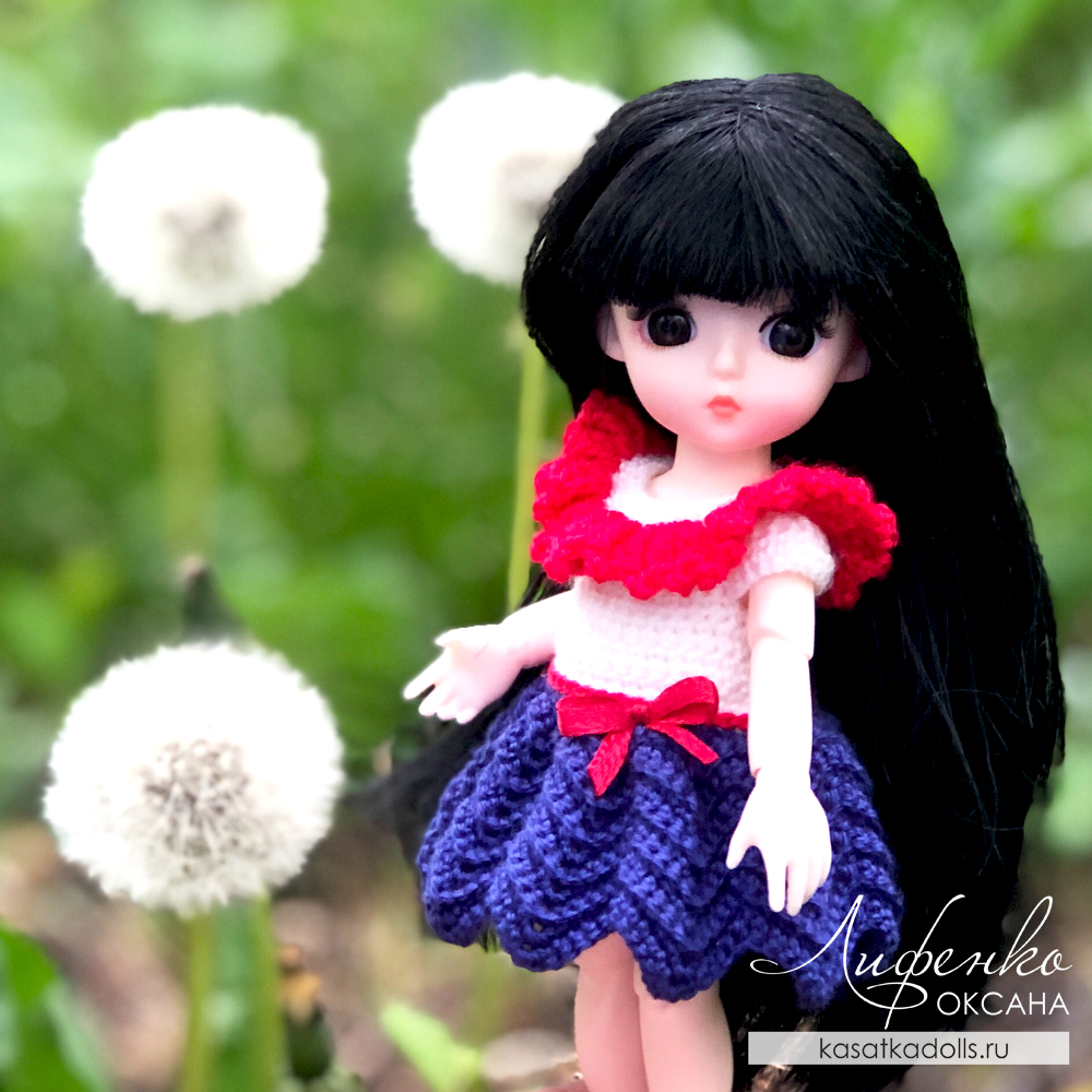 Платье крючком для маленькой куколки с алиэкспресс. Красивый узор зигзаг крючком для юбки