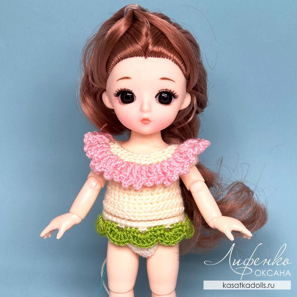 платье крючком для маленькой куклы: описание и мастер-класс