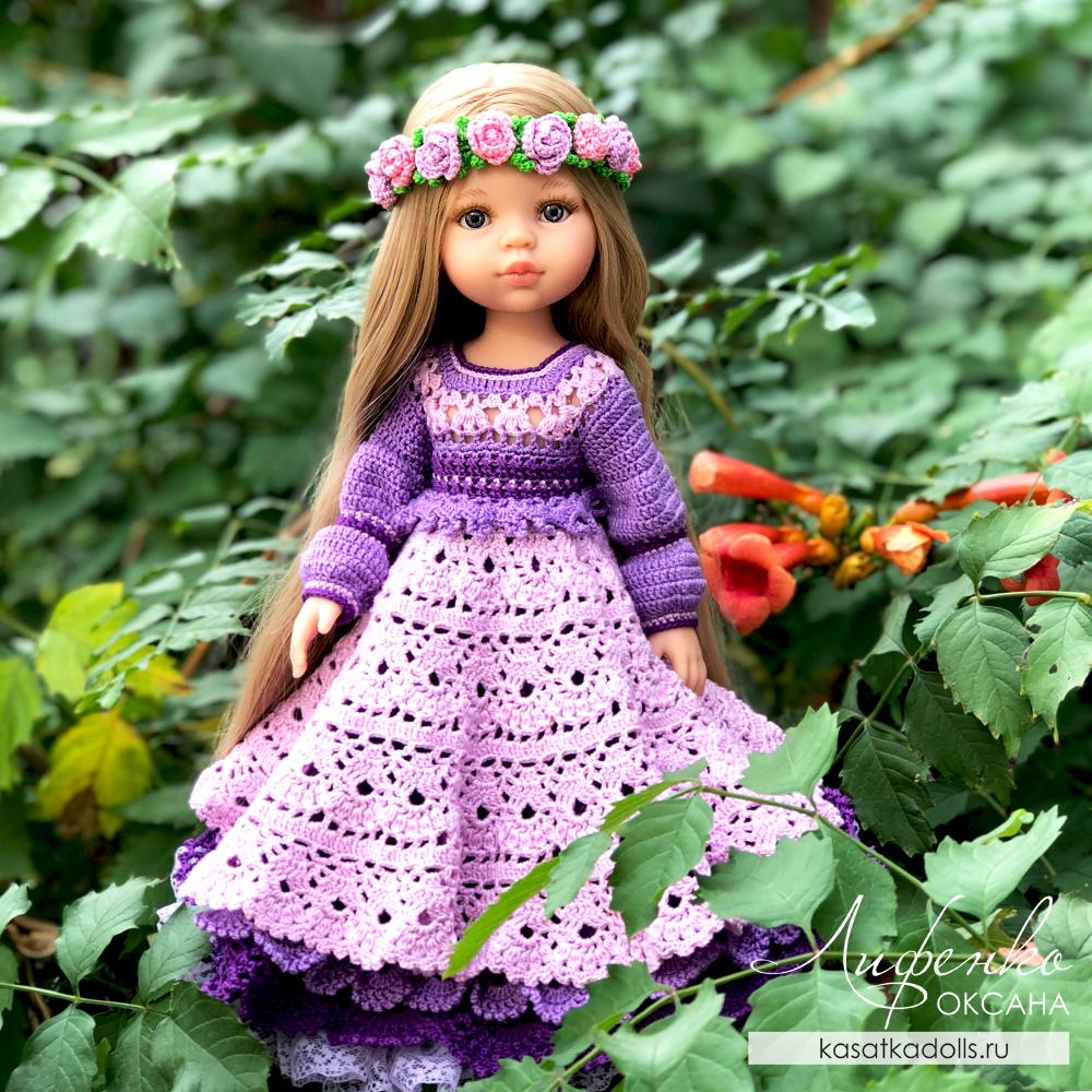 Пышное платье крючком для кукол Паола Рейна