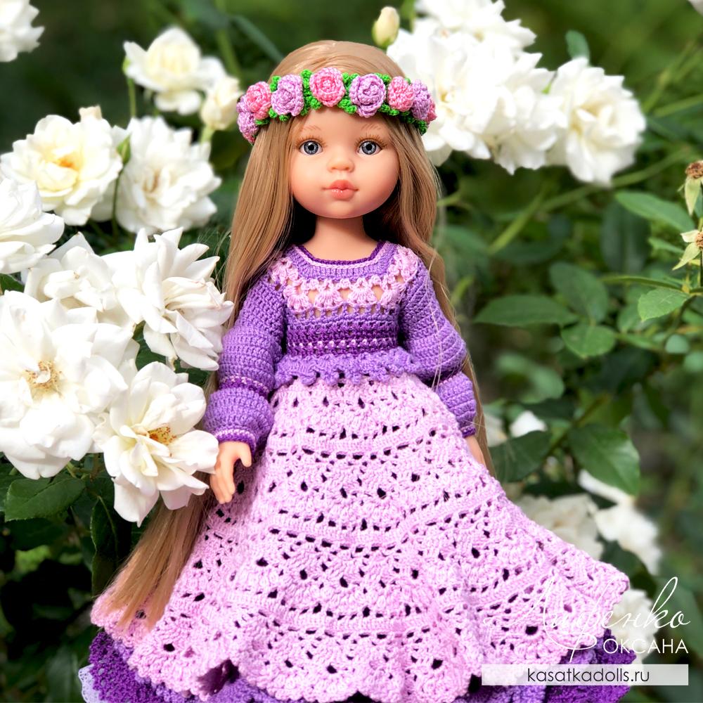 Бальное платье крючком для кукол Паола Рейна