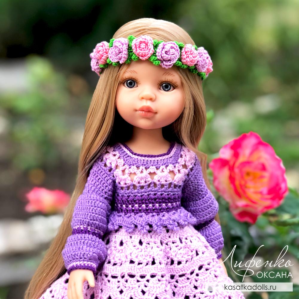 Нарядное платье крючком для кукол Паола Рейна