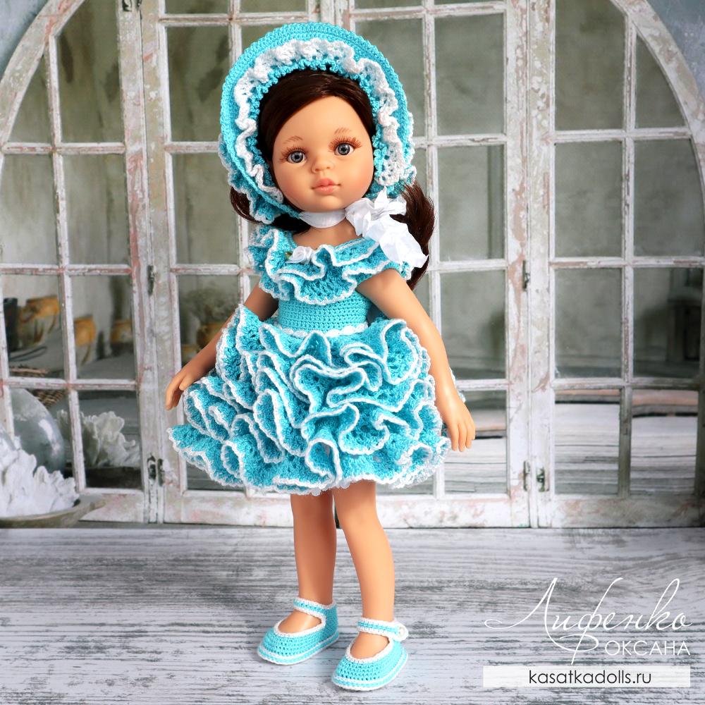 пышное платье с оборками и капор крючком для кукол Паола Рейна