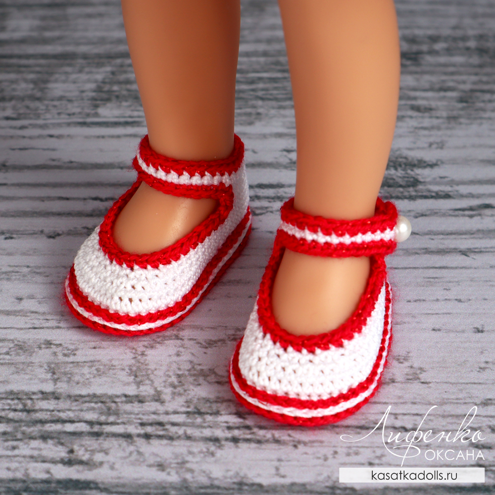 туфли с ремешком крючком для кукол