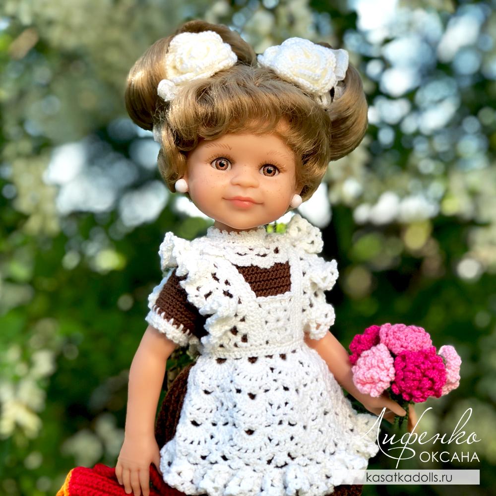 ажурный фартук для куклы крючком